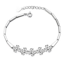 Real 925 Pure Silver Fashion Elegant Women's Flower Chain & Link Bracelets Wholesale & Retail Fashion Jewelry Free Shipping