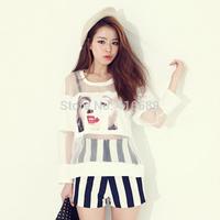 Aim 2014 monroe print perspective gauze patchwork t-shirt fashion personality stripe shorts set