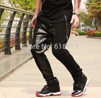 2014 fashion Leather drop crotch pants men leather sweatpants jogger pants hip hop leather harem baggy pyrex hba size 28-36