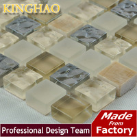 [KINGHAO] hot sale free sample brick tile glass mosaic tile STONE gold interior doors with glass kitchen wall ORANGE