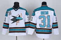 free shipping 2014 new cheap men's ice hockey jersey san jose sharks 31 Antti Niemi hockey jersey mix order,embroidered logos
