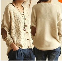 2013 spring autumn regular dress loose solid o-neck sweater cardigan single breasted sweater women free size