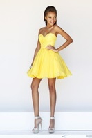 2014 New Beautiful Sweetheart Mini Cocktail Dresses Yellow Short Prom Dress
