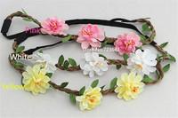 10Pcs Fashion Girl Bride Bohemian Flower Headband Festival Wedding Floral Garland Hair Band Headwear Hair Accessories for Women