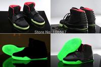 Free Shipping New Kanye West Air Yeezy 2 Black Red October Glow In Dark Women Men's Basketball Sport Footwear Sneaker Shoes