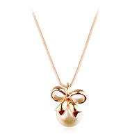 Real Italina Rigant Genuine Austria Crystal  18K gold Plated Pearl Pendant Necklace  Enviromental Anti Allergies #RG73367