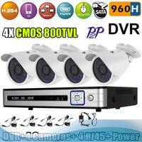 Full D1 4 CH H.264 Real time network CCTV DVR Kit 4 pcs 800 TVL Outdoor Day Night Camera Surveillance System