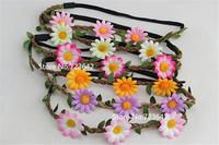 5pcs New Bohemia Braided Sunflower Headband Hair Bands Strap Flower Hair Wreath Beach Women/Girls Hair Accessories Free Shipping