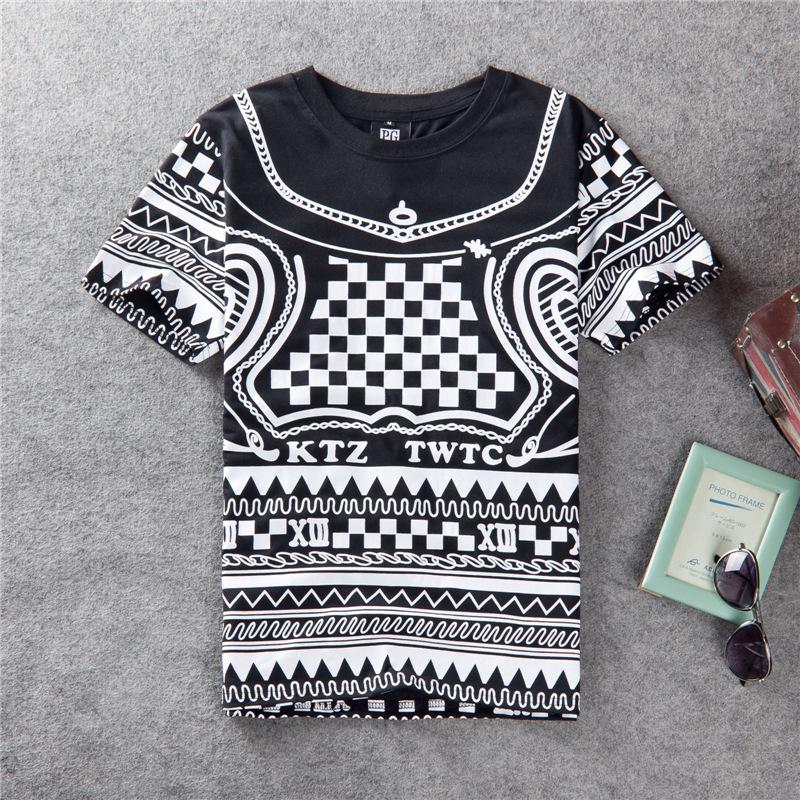 New 2014 Men & Women Summer Hot Sale Black And White Plaid T-shirt Short Sleeve Cotton T shirts Mens Brand Clothing Tops & Tees(China (Mainland))