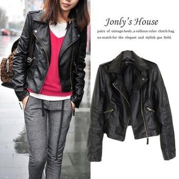 Женщины leather Jacket Coat XS-XL slim Короткий Paragraph diagonal Молния outerwear ...