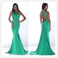 2014 New green sheath scoop sleeveless and backless with beading long stain Prom Dress custom-made  FSL-033