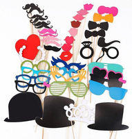 New 2014 free shipping 44pcs/lot Photo Booth Props Hat Lips Tie Mustache On A Stick Wedding Birthday party decorationfun favor