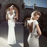 New Design VB-918 Elegant Lace Beads V-neck open back  Wedding Dress VESTIDO DE NOIVA White/Ivory