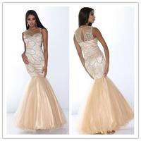2014 New Mermaid scoop regular short sleeve with sequins long organza Prom Dress custom-made  FSL-039