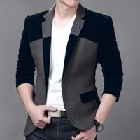 Hot Sale Men's Velvet Blazer Slim Fit Corduroy Casual Suit Jacket Winter Patchwork Fashion Blazers Men Plus Size M-6XL FS-034
