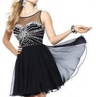 Real Photos Chiffon Fabric Elegant Design Beading Hand work  Wedding Party Dress 2014 OL102406