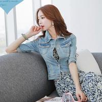 2014 hot new women Slim thin sleeve denim jacket lapel Short Jacket J460