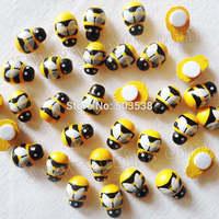 500PCS/LOT,Wood mini yellow bee stickers,Fly fridge sticker,3D wall stickers.Classroom ornament,Wood crafts.13x9mm,onstock