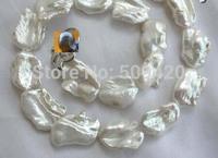 Free Shipping >>stunning big 23mm baroque white keshi reborn freshwater pearl necklace