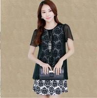 Free Shipping High Quality Elegant Summer New Arrival Plus Size M-XXXXL Fake Two Pieces Chiffon Dress Black/White