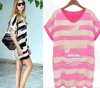 Free Shipping Western Style Individual Loose Color Block Stripe Plus Size Chiffon Dress Three Colors