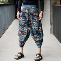 2014 new fashion Japanese fan printed harem pants men,loose low drop crotch linen Pants for men,feet pants,slacks calca,K335