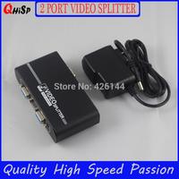 Top Quality,high solution VGA 1x 2 Ports VGA Splitter 350mhz USB  power cords Gift box packig