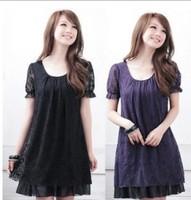 Free Shipping Plus Size M-XXXL Elegant Summer Hot Sale Lace Short Sleeve Fat MM Fashion Dress Three Colors