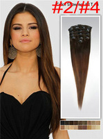 ombre clip in hair extension 100% Human hair straight high quality brazilian hair free shipping