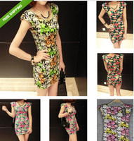 2014 Hot Sale  Fashion Floral Skull Sleeveless Cocktail Vintage Sexy Mini Dress free shipping.5 style
