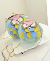 Owl pattern handbag shoulder bag large trumpet