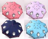 2014 free shipping fashion lovely totoro pattern automatic umbrella men's women's sun and rain umbrella high quality Rchar025