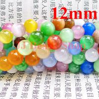 9.06usd/66pcs free shipping 12mm round beautiful cat eye beads Hot sell loose beads multi mixed colour wholesale 66pcs/lot C1200