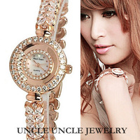 Beautiful!!! Rose Gold / Platinum Plated AAA Russian Rhinestones Hand-inlaid Women Luxury Lady Bracelet Wristwatch Wholesale