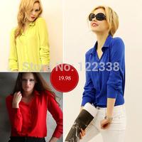 2014 New Fashion women' elegant Stand Neck blouse vintage shirt slim high quality brand designer tops 5 colors tops S-XXL
