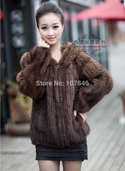 Winter Ladies' Genuine Real Вязанный Mink Мех Coat Jacket with Hoody Женщины ...