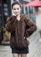 Winter Ladies' Genuine Real Knitted Mink Fur Coat Jacket with Hoody Women Fur Outerwear Coats Size  L to 6XL Plus Size VK1456