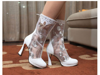 Free shipping! New 2014 Fashion trend of genuine leather female cool boots thick heel knee-high cutout boots women's shoes