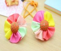 New 2014 Children Headwear Little Girl's Floral Elastic Hair Bands Cute Baby Girl Colorful Hair Bands Child Hair wear