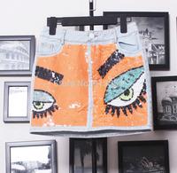 Free shipping 2014 new arrival embroidery paillette sparkling denim slim hip skirt / short skirt