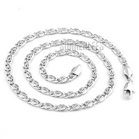 New Mens Womens Free Shipping 4mm Fashion Jewelry Snail Style Chain 18K White Gold Filled Necklace Gold Jewellery C05 WN