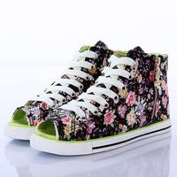 2014 flat high open toe shoe canvas shoes female shoes breathable single shoes