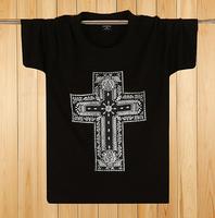 New 2014 Cross print men clothes Hot summer casual short sleeve plug size man t shirts XL-5XL size black,gray color