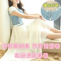 Free Shipping Korean New 2014 Spring And Summer Denim Stitching Chiffon Casual Dress Elegant Fashion Girl Clothes