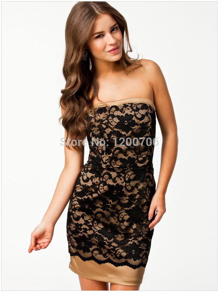 Black Lace Bandeau Dress Free Shipping 2014 European Star Models Sexy Black Lace Bandeau Dress Slash