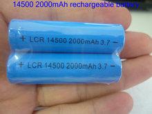 4pcs/lot  Li-ion Rechargeable 14500 Battery 3.7V 2000mAh for LED torch/flashlight/Digital Camera(China (Mainland))