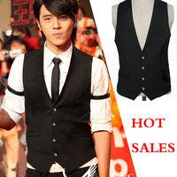 Plus Size 4XL 2014 New Men Suit Vest Slim Dress Vests Men's Fitted Leisure Waistcoat Casual Business Jacket Tops Four Buttons