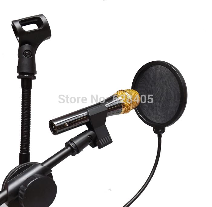 5 PCS Flexible Goose Neck Studio Microphone Anti Wind Screen Mask Pop Filter Dual Nylon Shield Double Mesh Windshield Free Ship(China (Mainland))