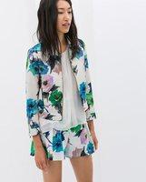 New Women Flower Prints Full Sleeve Turn-down Collar Slim Coats,Ladies Casual Zipper Jackets Outerwear w38