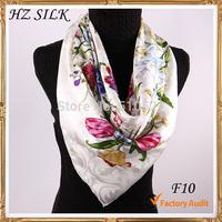 90x90cm pure silk jacquard floral white scarf Women acessories